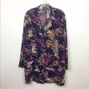 Lane Bryant Floral Tropical Sheer Button Down Top